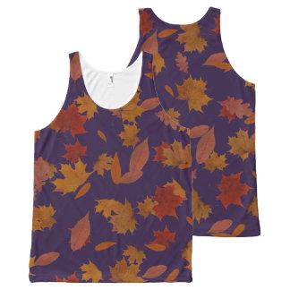 Regata Com Estampa Completa Folhas de queda do outono no azul feito sob