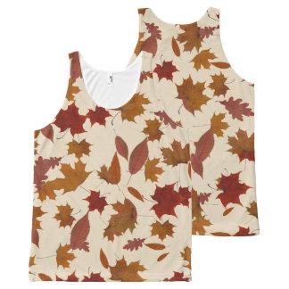 Regata Com Estampa Completa Folhas de queda do outono no creme feito sob