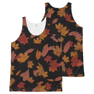 Regata Com Estampa Completa Folhas de queda do outono no preto feito sob