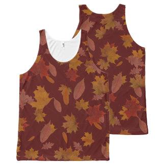 Regata Com Estampa Completa Folhas de queda do outono no vermelho de vinho
