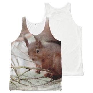 Regata Com Estampa Completa Fotografia vermelha do squirrell por todo o lado