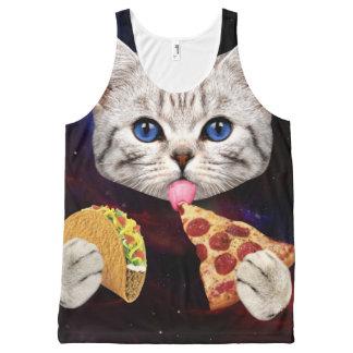 Regata Com Estampa Completa Gato do espaço com taco e pizza