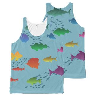 Regata Com Estampa Completa Grupo colorido de peixes subaquáticos