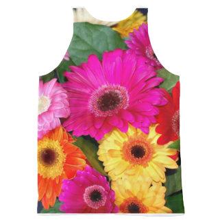 Regata Com Estampa Completa Impressão da flor por todo o lado na camisa