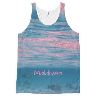 Regata Com Estampa Completa Lembrança azul cor-de-rosa bonito das ondas de