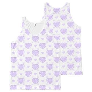 Regata Com Estampa Completa Lilac romântico & corações brancos