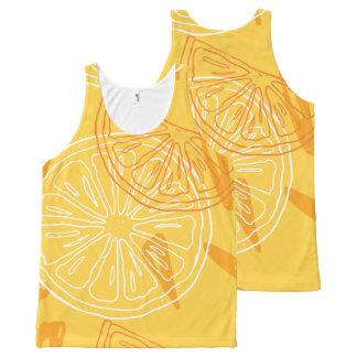 Regata Com Estampa Completa Limões amarelos brilhantes teste padrão tirado do