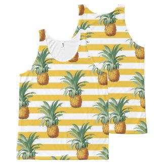 Regata Com Estampa Completa listras amarelas dos pinepples