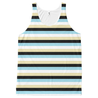 Regata Com Estampa Completa Listras azuis, brancas, bege e pretas Pastel