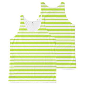 Regata Com Estampa Completa Listras grossas e finas do verde limão e do branco