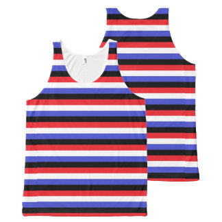 Regata Com Estampa Completa Listras pretas, brancas, vermelhas e azuis