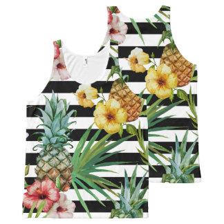 Regata Com Estampa Completa Listras tropicais do preto da flor do abacaxi da