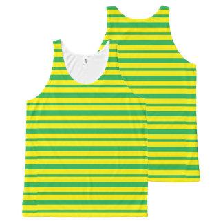 Regata Com Estampa Completa Listras verdes e amarelas grossas e finas