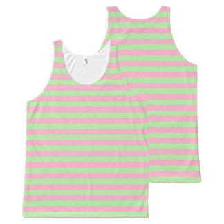 Regata Com Estampa Completa Listras verdes e cor-de-rosa da hortelã