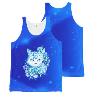 Regata Com Estampa Completa Mão da galáxia azul do gato de 10 tanque unisex