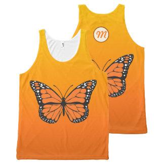 Regata Com Estampa Completa Monograma alaranjado vibrante da borboleta de