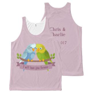 Regata Com Estampa Completa Nomes dos pássaros bonitos do amor & camisola de