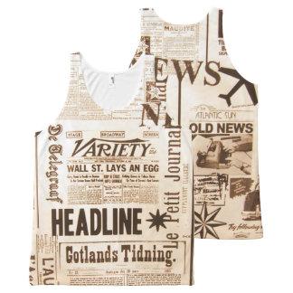 Regata Com Estampa Completa Notícia velha dos anúncios da tipografia do jornal