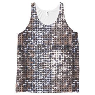 Regata Com Estampa Completa Olhar Sparkling de prata do Sequin