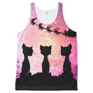 Regata Com Estampa Completa Os gatos olham ao céu a Papai Noel