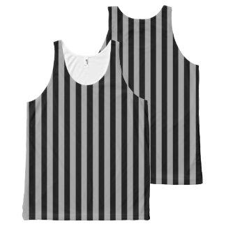 Regata Com Estampa Completa Prata vertical e listras pretas