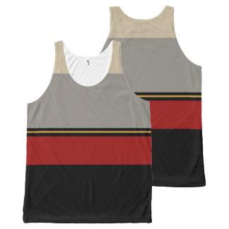 Regata Com Estampa Completa Preto, vermelho, cinzento, e tan