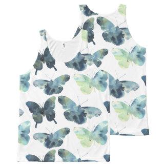 Regata Com Estampa Completa Teste padrão de borboletas azul verde artístico da