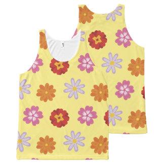 Regata Com Estampa Completa Teste padrão de flor amarelo floral das margaridas