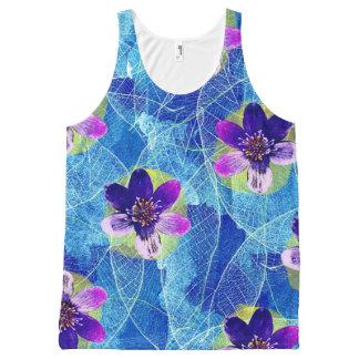 Regata Com Estampa Completa Teste padrão floral artística roxo e azul bonito