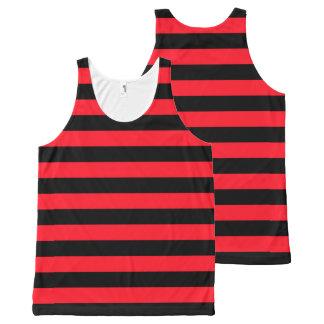 Regata Com Estampa Completa Teste padrão listrado vermelho e preto Coloured