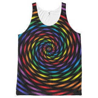 Regata Com Estampa Completa Um Pinwheel do arco-íris no movimento