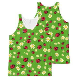 Regata Com Estampa Completa verde bonito do teste padrão de flor do joaninha e