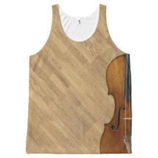 Regata Com Estampa Completa Violino de Stradivari no efeito de madeira do