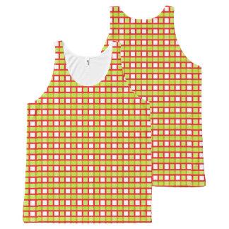 Regata Com Estampa Completa Weave vermelho, branco e estático do verde limão