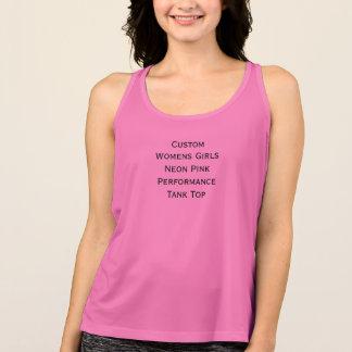 Regata Desempenho cor-de-rosa de néon TankTop das meninas