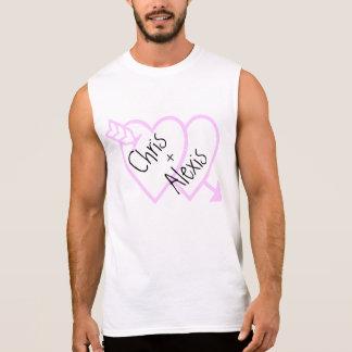 Regata O amor nomeia o Tshirt cor-de-rosa dos corações