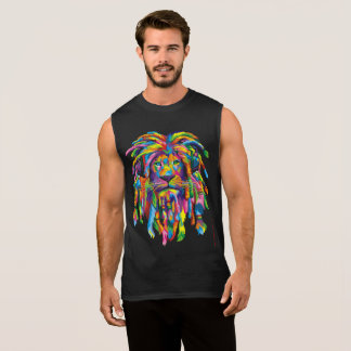 Regata O leão Rasta Rastafarian teme o T sem mangas