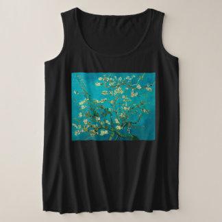 Regata Plus Size Arte floral de florescência da árvore de amêndoa