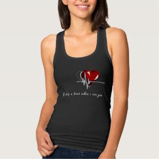 Regata Pulsação do coração legal do t-shirt das mulheres