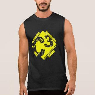 Regata Sem mangas C3 preto com logotipo amarelo do Gym