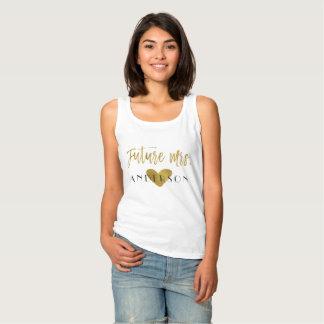 Regata Sra. futura folha e branco de ouro com coração