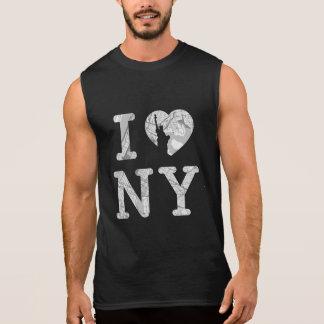 Regata T-shirt do mapa de New York sem mangas