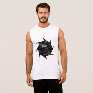 Regata T-shirt sem mangas do algodão preto e branco do