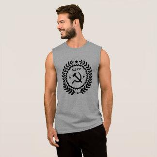 Regata T-shirt sem mangas do crachá do martelo & da foice