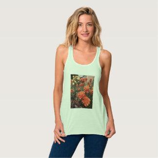 Regata Tanque alaranjado da flor do verde da hortelã