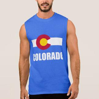 Regata Texto branco da bandeira de Colorado no azul
