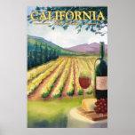 Região vinícola de Califórnia - poster das viagens