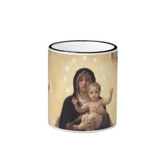 Regina Angelorum por Bouguereau, anjos do Caneca Com Contorno