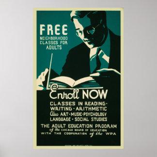 Registre agora classifica livre o poster do ensino