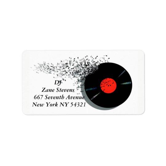 Registro de vinil do disco-jóquei do DJ do Etiqueta De Endereço